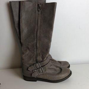 Grey brown side zipper buckle moto boots sz 6.5